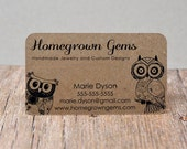 Recycled Kraft Brown Business Cards Modern Cute Owls - Calling Cards - Mommy Cards - Display Cards