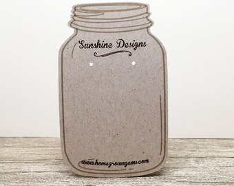 Mason Jar Customized Earring Display Cards - Jewelry Display - Packaging - Price Tags - Personalized