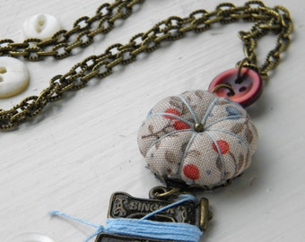 Sewing Necklace with a Tiny Pincushion and Thread Winder, Apple Blossom