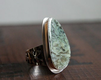 On SALE, Lichen, a Horse Canyon Moss and Silver Cocktail ring, size 8.5