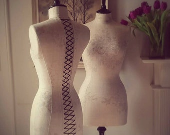 Interior Design Mannequin Beautiful English Fabric Kate Forman Linen Display Dressform - Sophia in Grey