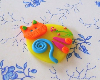 Polymer Clay Colourful Cat pin brooch or magnet