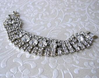 Vintage Rhinestone Bracelet Cuff 4 and 5 Rows 1950s Costume Jewelry Downton Wedding Gatsby Bride Bohemian Chic Bridal Pageant Ballroom Prom