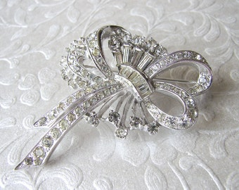 1940s Rhinestone Brooch Pave Ribbon Pendant Baguette Flower Vintage Costume Jewelry Diamante Pin Wedding Bouquet Sash Clip Bridal Ballroom