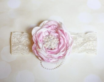Always & Forever - Pink and Ivory Handmade Flower Headband Photo Prop