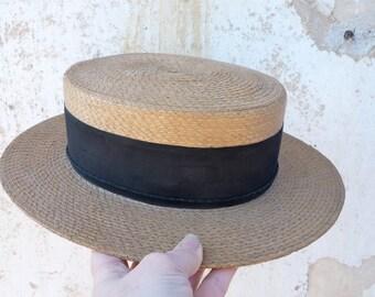 Vintage antique  1900s/1920s straw boater hat size 6 3/4