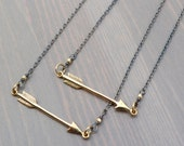 Bronze Arrow on Sterling Silver Chain Necklace