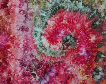 Nautilus End of Day -1 yard HAND DYED FABRIC - Tuscan Rose Modern Shibori Cotton - 5006