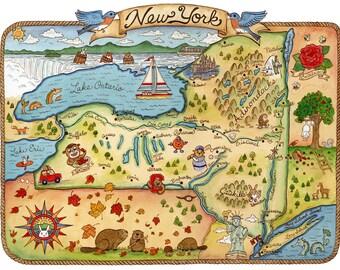 "New York State Map Art Print 11"" x 14"""