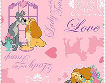 Disney Lady and the Tramp on pink, 1/2 Yard