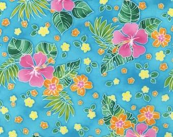 Robert Kaufman, Island Sanctuary Hawaiian Fabric in Turquoise, yard