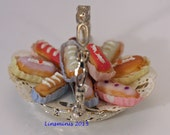 12th scale dollhouse miniature basket of iced éclairs