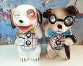 RESERVED FOR Joanne Mohr Vintage Lefton Teacher's Professor Student Dogs Puppies Scholars Salt and Pepper Shakers Antique Collectibles