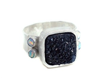 Square Black Druzy Ring with Tiny Opals on Wide Hammered Band- Handmade in Sterling Silver