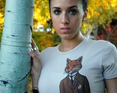 Fox Shirt - Women's fox Tshirt - Women's Gift - Screen Print Shirt - Fox Art - Cool Gifts - Dapper Fox