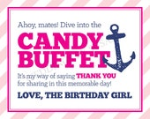 SALE Printable 8x10 Ahoy Mates Nautical Anchor Girl's Birthday Party Candy Buffet Sign in Pink, Hot Pink and Navy Blue - Instant Download