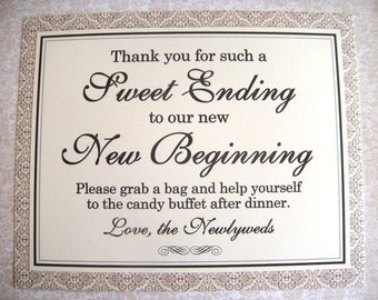 8x10 Flat Sweet Ending to Our New Beginning Wedding Candy Buffet Sign in Black and Gold and Ivory Damask - READY TO SHIP