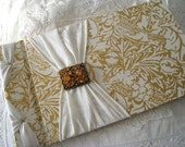 Ivory and Gold Guest Book with Vintage Amber Brooch, Holds up to 400 Signatures