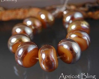 10 Large Apricot Bling Beads , Donut Rondelle Beads , gold , handmade glass beads, lampwork beads by Beadfairy Lampwork, SRA