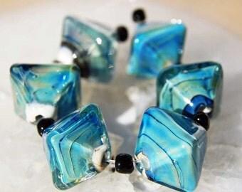 6 Large  Ocean Crystals,  organic blue green handmade diamond glass beads, lampwork beads by Beadfairy Lampwork, SRA