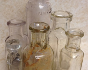 Lot of 6 Miniature Vintage Glass Bottles