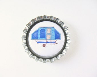 Pop Up Camper Bottle Cap Magnet - blue cute fridge