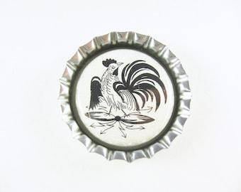 Bottle Cap Fridge Magnet Home & Living, Kitchen, Storage German Folk Art Rooster Neutral Black
