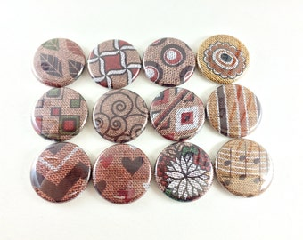 12 Cute Fridge Magnets, Pin Back Buttons, Wine Charms, Brown Red, Burlap, Kitchen Decor, Gift for Her, Keychain, Geometric Set, 1264