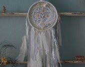Fleur Dreams - Abandoned Vintage Bits of Fabric Crochet and Lace Shabby Chic Dreamcatcher