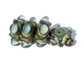 Handmade Lampwork Glass Beads Bubble Windows Pale Blue Green