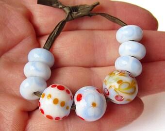 Lampwork Glass Beads Handmade white blue red yellow