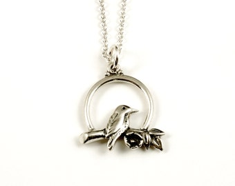 Sunrise Bird Necklace - Sterling Silver Bird Pendant, Nature Jewelry