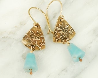 Bronze Wren Earrings with Blue Amazonite drops, Gold-Filled Wires, and Hand Drawn Bird Textures, Bird Jewelry