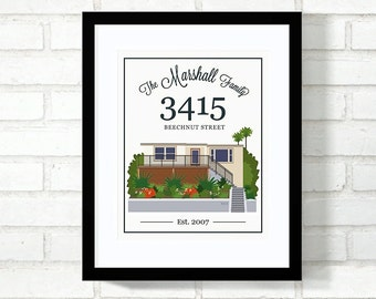 Custom Home Illustration, Home Portrait, Family Established Sign, New Home, First Home Wall Art, Real Estate Closing Gift, My Home - 8x10