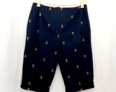 Nautical Capri Pants Womens Navy Blue Gold Anchor Embroidery Plus SIze