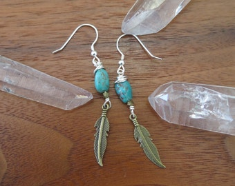 Feather Mixed Metal Earrings - Sterling Silver Hooks - Turquoise and Brass - Bohemian Free Spirit Womens Jewelry