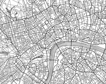 LONDON Map Street Map ENGLAND UK City Map Drawing Black and White (Art Print) Wedding Anniversary Gift Wall Decor Travel Print