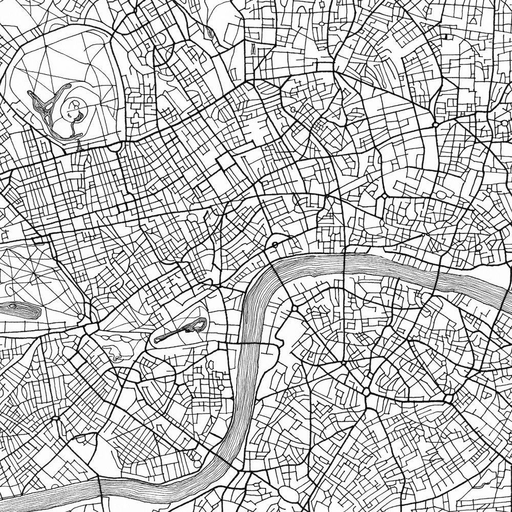 london karte street map england uk stadtplan zeichnung schwarz. Black Bedroom Furniture Sets. Home Design Ideas