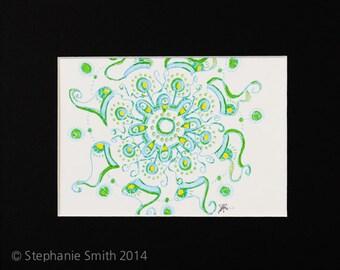 Original Expressive Energetic Mandala Matted Drawing: Green Bean