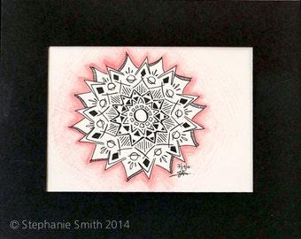 Original Expressive Energetic Mandala Matted Drawing: Holding Space