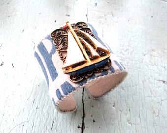Nautical Cuff Bracelet - Sailboat