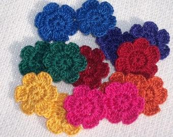 14 handmade cotton thread crochet applique flowers  -- 479