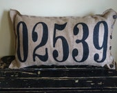 Burlap qunicy Pillow - put your custom zip code here