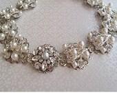 Wedding Headband bridal headpiece pearl headband silver hair piece crystal head band bridal headband wedding