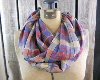 Scarf, infinity scarf, flannel, loop scarf, circle scarf, Eco-friendly, up-cycled, reclaimed, gift, rustic, prairie, Fall/Winter, plaid