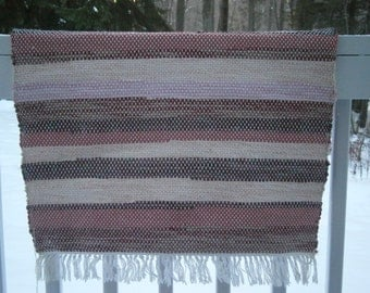 Multicolored Hand Woven Rag Rug (in shades of Rose, Pink, Cream)  Cotton Rag Rug
