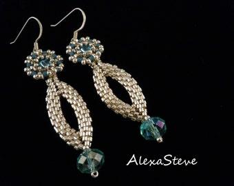 Blue Earrings, Silver Earrings, Silver Drop Earrings, Long Earrings, Bridal Earrings, Something Blue, Long Earrings, Delica Bead Earrings