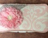 Pink And White Damask Travel Wipe Case for baby shower GIFT rhinestone FLOWER