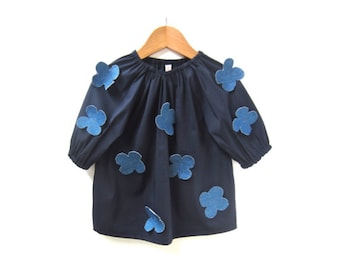 girls floral smock skirt, toddler blue shirt, floral top, navy blouse, cotton smock shirt 2T