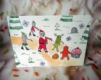SALE: 10-Pack of Holiday Cards with Envelopes Zombie Santa Christmas